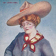 SOLD Post Card Titled Cow-Girl