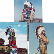 SOLD Group of 3 Native American Men with Feather Bonnets Post Cards