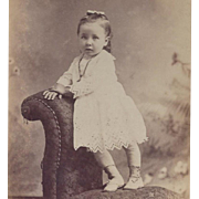 SOLD PHOTOGRAPH PORTRAIT CARD GIRL IN EYELET DRESS