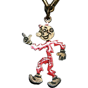 REDDY KILOWATT MAN'S NECKTIE CHAIN SLIDE BAR