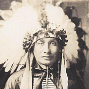 NATIVE AMERICAN REAL PHOTO POSTCARD SIOUX WARRIOR