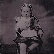 Tintype Photograph Girl with Doll