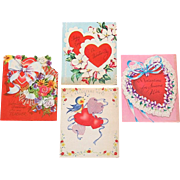 GROUP OF 4 AMERICAN HEART VALENTINE CARDS