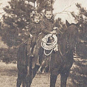 SALE RPPC TWO SISTERS ON ROPING HORSE