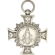 French 19C Large Silver Assumption of Mary/ St Vedaste Cross Medal - PENIN
