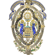 French 1887 Silver Gilt and Enamel First Communion Medal on Velvet Pad