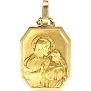 French Art Deco Silver and 18K Gold Jesus and Mary Magdalene Medal