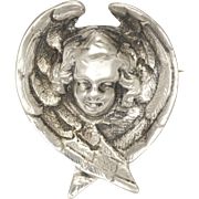 Victorian Silver Angel Head Pin