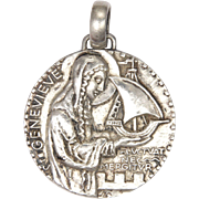 French St. Genevieve of Paris Large Silvered Bronze Medal