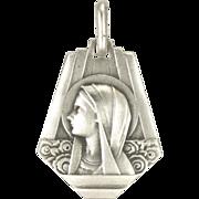 Art Deco Silver Mary Lourdes Charm