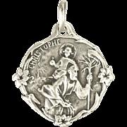 French Art Nouveau Silver St Christopher Medal Pendant