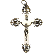 French Circa 1900 Silver and Mother of Pearl Crucifix