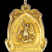 St Michael Gold Plated Art Nouveau Brussels Medal