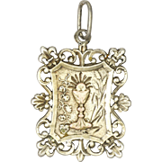 French Circa 1900 Silver Fleur de Lis Communion Medal