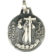 French Silver St Bernard Small Medal  - FERNAND PY