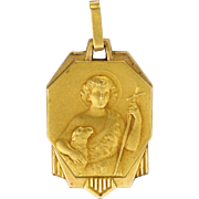 French Art Deco Gold Filled John the Baptist Medal or Charm - FIX