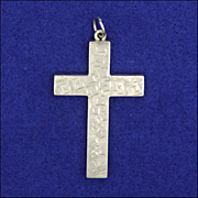 Late Victorian Sterling Silver Ivy Engraved  Cross Pendant