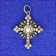 SALE French Antique Silver Paste Cross Pendant or Charm