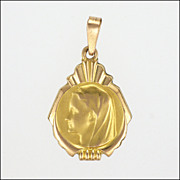 French Late Deco  Gold Filled Virgin Mary Pendant - FIX