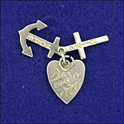 SOLD English Vintage Silver Faith Hope & Charity Charms