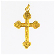 SALE PENDING English 9K Gold on Silver Engraved Cross Charm