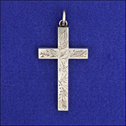 "Victorian Sterling Silver Engraved Cross -2½"" -6.5 grams"