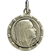 French Silver Our Lady Lourdes Medal 1958