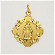 French Antique 18K Gold Virgin Mary Medal  Pendant- 1911