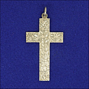 Large English Victorian Engraved Silver Cross - 1897