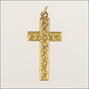English 1912  9K Gold Ivy Engraved Cross - CDB