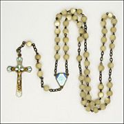French Art Deco Mother of Pearl Enamel Rosary- Silver Crucifix