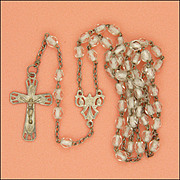 French Art Deco Glass Bead Silver Rosary with Crucifix