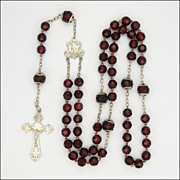 French Circa 1900 Garnet Glass Rosary - Silver Crucifix