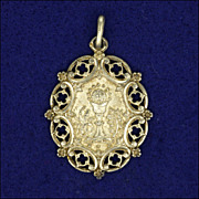 French  Circa 1900-1910 Large Silver Communion Medal