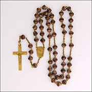 French Art Deco Goldstone & Gold Filled Rosary