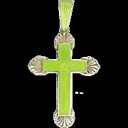 Sterling Silver Enamelled Cross Pendant with Flower Design
