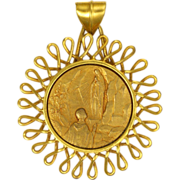 French Gold Plated Lourdes Medallion Pendant