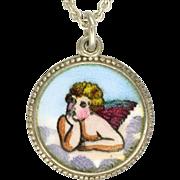 European Silver Enamel Cherub Pendant Necklace