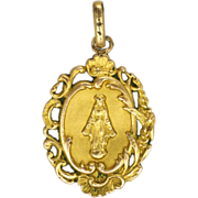 French Gold Filled Our Lady First Communion Medal