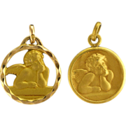 A Pair of French 18K Gold Filled Cherub Charms