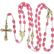 French Art Deco Silver and Glass Bead Rosary