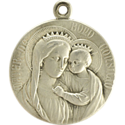 SOLD French Silvered Double Sided Medal - Virgin & Child -Pope Pius X