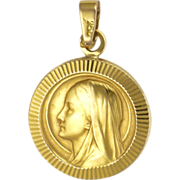 French 18K Gold Virgin Mary Pendant or Charm