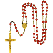 French Art Deco Coral & Gold Filled Rosary