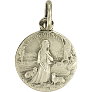 SOLD French Circa 1910 St Genevieve & Sheep Silver Medal - PENIN PONCET