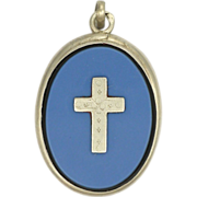 French Victorian Silver & Glass Cross Locket Reliquary