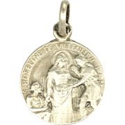 French Silver St Roselyne Medal or Chatrm - PENIN