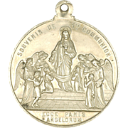 French 19C Large Silver Communion Medal - Jesus and Angels