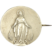 French Antique Silver Miraculous Medal PIn