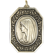 French Large  Virgin Mary Silver Pendant - After Henner